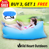 Fast Inflatable Air Bag Sofa Blue Lounge Laybag Camping Bed Beach Hangout