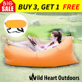 Fast Inflatable Air Bag Sofa Orange Lounge Laybag Camping Bed Beach Hangout