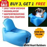 2017 Model Fast Inflatable Air Bag Sofa w Air Pillow Blue Lounge Laybag Camping Bed Beach Hangout