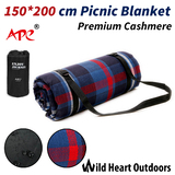 150X200cm Large Picnic Blanket Premium Cashmere BLACK Rug Waterproof Mat Outdoor Camping