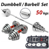 50KG Dumbbell Barbell Weights Set Plates Gym Home Fitness Exercise
