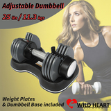 Adjustable Dumbbell 25 lbs 11.3 kgs Weight Home Gym Fitness Power Exercise Equipment