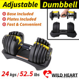 Adjustable Dumbbell 24kg Home GYM Exercise Equipment Weights Fitness Workout