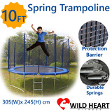 10ft Trampoline Round 3m Safety Net Spring Pad Ladder Kids Heavy Duty