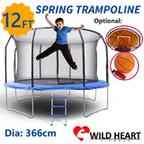 12ft Trampoline Round Safety Net+Spring Pad+Ladder Optional Basketball Set Kids Heavy Duty