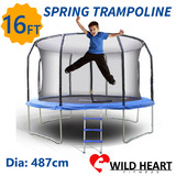 16ft Trampoline Round + Safety Net + Spring Pad + Ladder Kids Heavy Duty