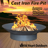 "Fire Pit Patio Heater 66cm 26"" Open Fireplace Large Firepit Garden Plant Bowl Outdoor Portable BBQ Water Bowl Coal Wood Fireplace"