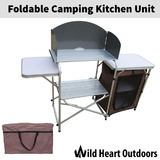 Foldable Camping Kitchen Unit Cook Table Storage Cupboard Windshield