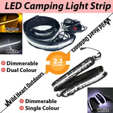 1.3m LED CAMPING LIGHT STRIP COMBO 1xWHTIE+1xDual Colour 12V FLEXIBLE Dimmer CARAVAN BOAT WATERPROOF BAR STRIP