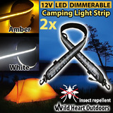 2x1.3m LED CAMPING LIGHT STRIP Dual Colour 12V FLEXIBLE Dimmer CARAVAN BOAT WATERPROOF BAR STRIP