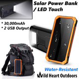 30000mAh Solar Power Bank External Battery Led Touch Dual USB Water resistance