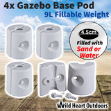 4xGazebo Base Pod Kit Tent Canopy Marquee Feet Leg Fillable Weight Water Sand Pods
