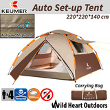 4 Person Tent Auto Set-up Double-Layer Family Camping Hiking Dome Tent