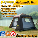 5 Person Double-Layer Tent Auto Set-up Awning Family Camping Hiking