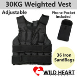 Weight Vest 30KG Weights Adjustable Soft Sandbag Crossfit Sports Training Running Strength Gym MMA