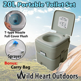 20L Portable Toilet Outdoor Camping Potty w Carry Bag Sprayer Caravan Boating