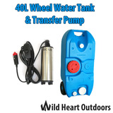 40L Portable Wheel Water Tank&Transfer Pump Camping Caravan Storage Motorhome Waste Transport