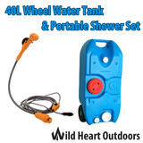 40L Portable Wheel Water Tank & Portable Shower Set Camping Caravan Storage Motorhome Waste Transport