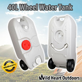Portable 40L Wheel Water Tank Grey Camping Storage Caravan Motorhome Waste Gray Transport