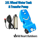 25L Portable Wheel Water Tank&Transfer Pump Camping Caravan Storage Motorhome Waste Transport