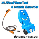 25L Portable Wheel Water Tank & Portable Shower Set Camping Caravan Storage Motorhome Waste Transport