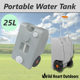 Portable Water Tank 25L Grey WheelED Camping Caravan Storage Motorhome Waste Transport Gray