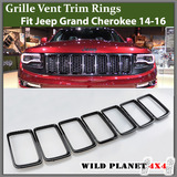 Black Grille Vent Trim Ring Insert Cover Kit Fits 14-16 Jeep Grand Cherokee