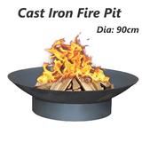 Fire Pit Cast Iron Patio Heater 90cm Open Vintage Fireplace Firepit Plant Bowl Outdoor