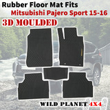 Rubber Floor Mats Fits Mitsubishi Pajero Sports 15-onwards 1st&2nd Row 3D Moulded