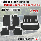 Rubber Floor Mats Fits Mitsubishi Pajero Sports 15-onwards Full Set 3D Moulded