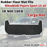 Rubber Cargo Trunk Mat Fits Mitsubishi Pajero Sports 15-onwards Floor Mat 3D Moulded