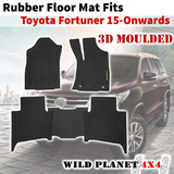 Rubber Floor Mats Fits Toyota Fortuner 15-onwards 1st&2nd Row 3D Moulded