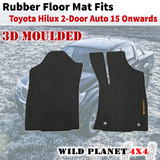Rubber Floor Mats Fits Toyota Hilux 15 Onward Front Seat Single Cab Auto 3D Moulded