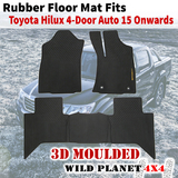 Rubber Floor Mats Fits Toyota Hilux 15 Onward Dual Cab Auto 3D Moulded