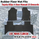 Rubber Floor Mats Fits Toyota Hilux 15 Onward Dual Cab Manul 3D Moulded