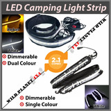 1.3m CAMPING LIGHT STRIP COMBO 1xWHTIE+1xDual Colour 12V LED FLEXIBLE Dimmer CARAVAN BOAT WATERPROOF BAR STRIP
