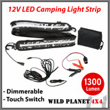 12V LED CAMPING LIGHT 1.3M FLEXIBLE Dimmer 5050 SMD CARAVAN BOAT WATERPROOF BAR STRIP