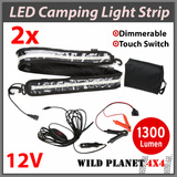 2x1.3m CAMPING LIGHT STRIP WHITE 5050 SMD LED FLEXIBLE Dimmer CARAVAN BOAT WATERPROOF BAR STRIP