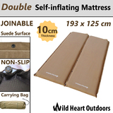 Double NEW SELF INFLATING MATTRESS 10cm Thick Suede Inflatable Camping