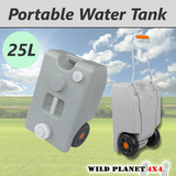 25L Portable Wheel Water Tank Grey Camping Caravan Storage Motorhome Waste Transport Gray