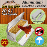 Automatic Chicken Feeder 20.6L Aluminium Chook Treadle Self Opening Poultry Rat-proof