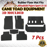 3D Rubber Floor Mats Fits Mitsubishi Pajero Sports 15-onwards Full Set Heavy Duty All Weather