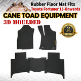 3D Rubber Floor Mats Fits Toyota Fortuner 15-onwards 1st&2nd Row Heavy Duty All Weather
