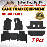 3D Rubber Floor Mats Fits Toyota Fortuner 15-onwards Full Set Heavy Duty All Weather