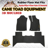 3D Rubber Floor Mats Fits Toyota Hilux 2015 on Dual Cab Auto Heavy Duty All weather