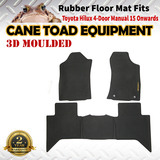 3D Rubber Floor Mats Fits Toyota Hilux 2015 on Dual Cab Manual Heavy Duty All weather