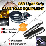 LED CAMPING LIGHT STRIP COMBO 1xWHTIE+1xDual Colour 1.3m 12V FLEXIBLE Dimmer CARAVAN BOAT WATERPROOF BAR STRIP