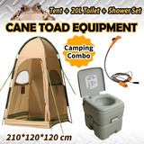 20L Camping Portable Toilet & Shower Tent & 12V Shower Set Camping Change Room Shelter Ensuite