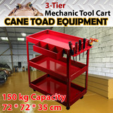 3-Tier Tool Cart Mechanic Trolley All Metal 150KG Load Workshop