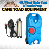 Portable 40L Wheel Water Tank&Tranfer Pump Camping Storage Caravan Motorhome Waste Transport